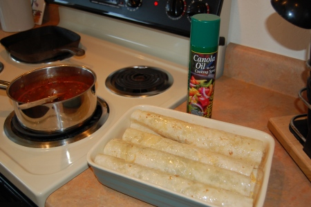 Enchilada's ready to go into oven for 30 Min