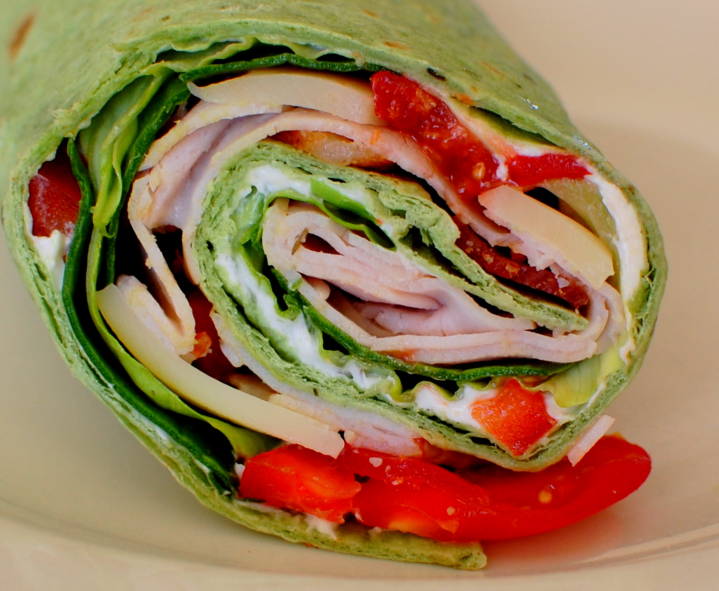 Turkey, Swiss and Bacon Spinach Wrap with Cherry Tomato's ...